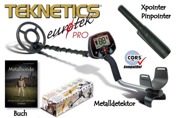 Metalldetektor Premium Ausrüstungspaket Teknetics Eurotek PRO (LTE) mit Quest Xpointer Pinpointer