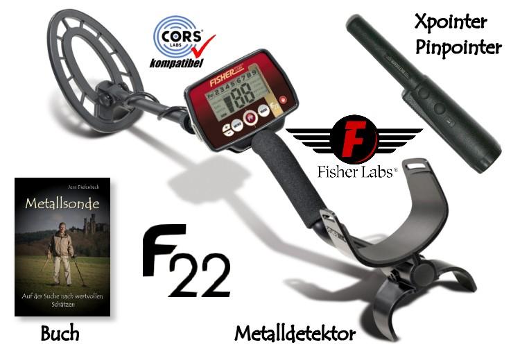 Metalldetektor Premium Ausrüstungspaket Fisher F22 mit Quest Xpointer Pinpointer