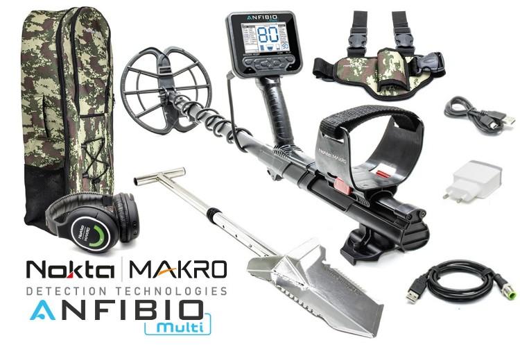Nokta/Makro Anfibio Multi Metalldetektor mit Funkkopfhörer & Rucksack & Premium Spaten & Beinholster
